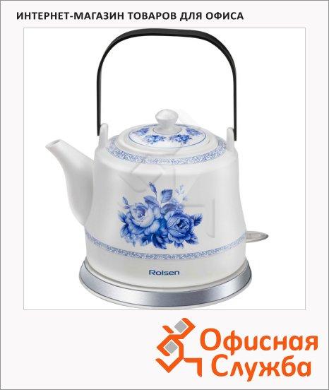 Чайник электрический Rolsen RK-1050CR, 1 л, 1200 Вт, бело-синий