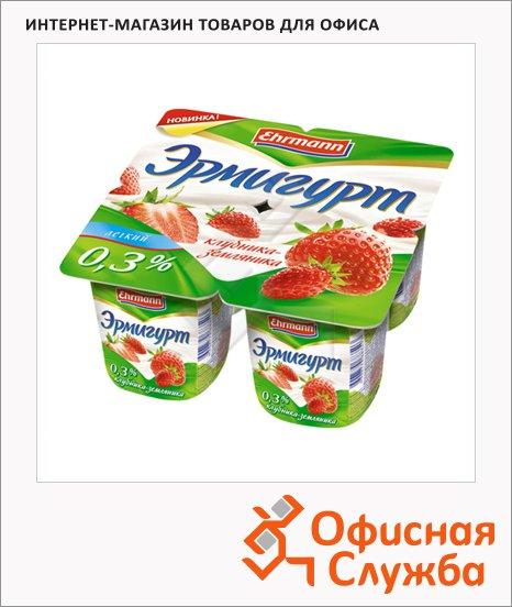 Йогурт Эрмигурт Легкий клубника-земляника, 0.3%, 4х115г