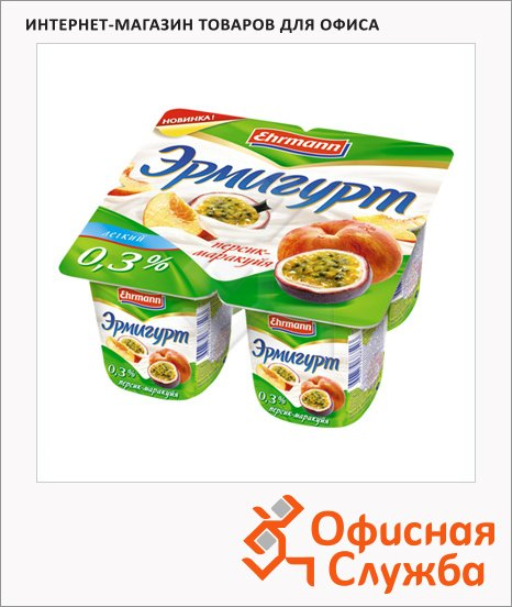 фото: Йогурт Эрмигурт Легкий персик-маракуйя 0.3%, 4х115г