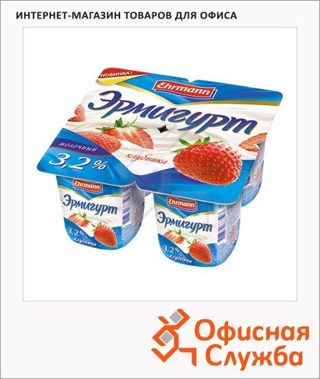 фото: Йогурт Эрмигурт Молочный клубника 3.2%, 4х115г