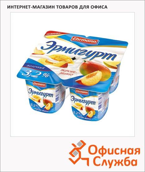 фото: Йогурт Эрмигурт Молочный персик-манго 3.2%, 4х115г