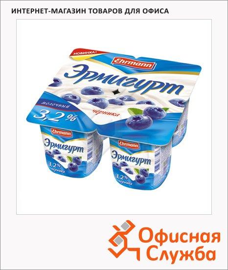фото: Йогурт Эрмигурт Молочный черника 3.2%, 4х115г
