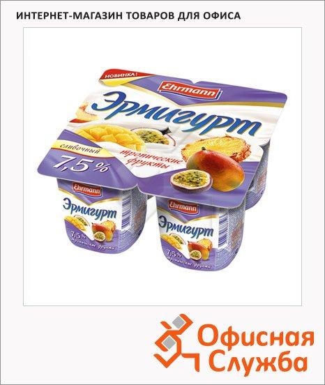 Йогурт Эрмигурт Сливочный тропические фрукты, 7.5%, 4х115г