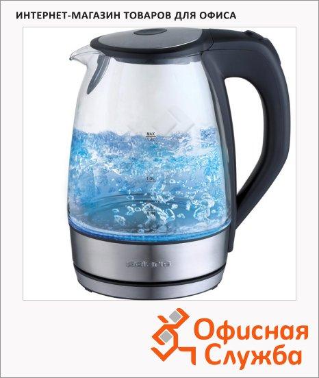 фото: Чайник электрический Polaris PWK 1729CGL металл/стекло 1.7 л, 2200 Вт