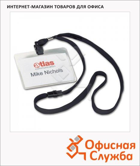 Бейдж на зажиме с тесьмой Durable 60х90мм, 44 см, 10 шт/уп, черный, 8139-01
