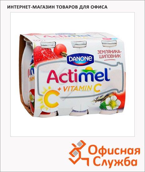 фото: Кисломолочный напиток Actimel натуральный земляника-шиповник 100г х 6шт