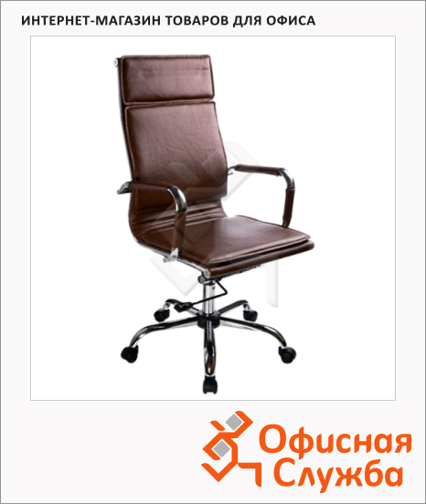 фото: Кресло руководителя Бюрократ CH-993 иск. кожа крестовина хром, коричневая