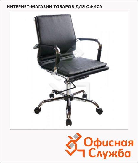 Кресло руководителя Бюрократ CH-993-Low иск. кожа, крестовина хром, черная, низкая спинка