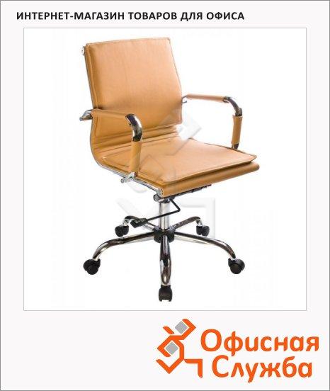 фото: Кресло руководителя Бюрократ CH-993-Low иск. кожа крестовина хром, низкая спинка, коричневая, светлая