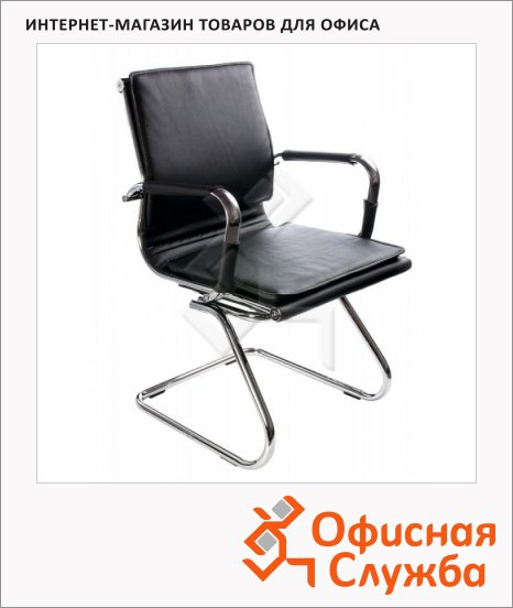 фото: Кресло посетителя Бюрократ CH-993-LOW-V иск. кожа на полозьях, черная, хром