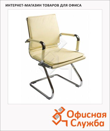 Кресло посетителя Бюрократ CH-993-LOW-V иск. кожа, на полозьях, слоновая кость, хром