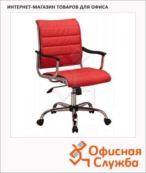 фото: Кресло руководителя CH-994AXSN иск. кожа красная, крестовина хром