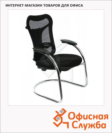 фото: Кресло посетителя Ch-999AV ткань черная, на полозьях, хром