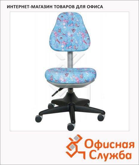 фото: Кресло детское Бюрократ KD-2 ткань крестовина пластик, голубая, аквариум