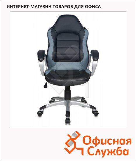 фото: Кресло руководителя Бюрократ CH-825S иск. кожа черная, крестовина пластик, серая