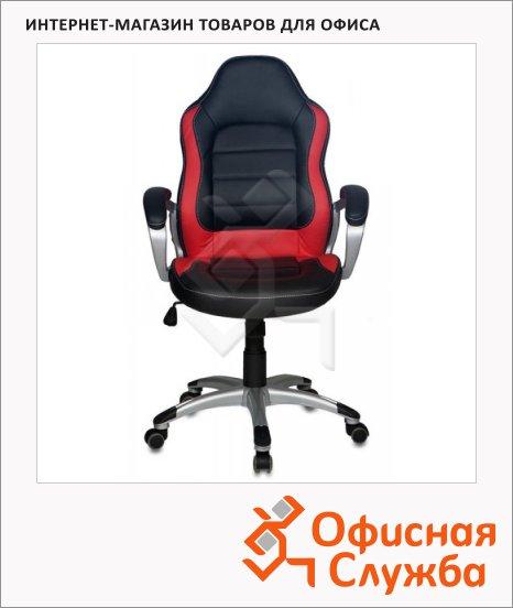 Кресло руководителя Бюрократ CH-825S иск. кожа, черная, крестовина пластик, красная