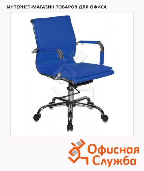 фото: Кресло руководителя Бюрократ CH-993-Low иск. кожа крестовина хром, синяя, низкая спинка