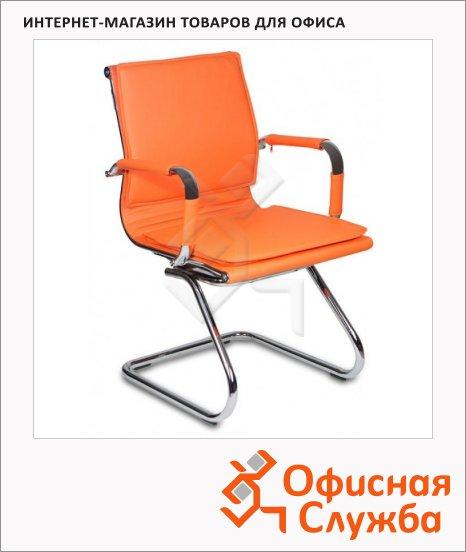 фото: Кресло посетителя Бюрократ CH-993-LOW-V иск. кожа на полозьях, оранжевая