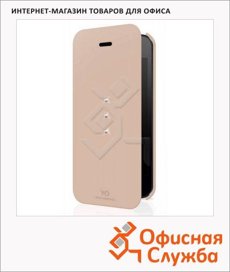 фото: Чехол для Apple iPhone 5/5S White Diamonds Crystal Booklet розовое золото натуральная кожа