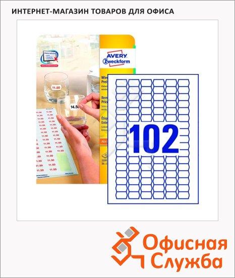 Этикетки для ценников Avery Zweckform удаляемые L3410REV-2, белые, 26х16мм, 102шт на листе А4, 25 листов, 2550шт, для струйной/ цветной лазерной печати