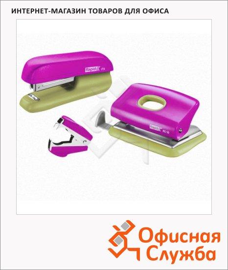 фото: Набор мини-степлер + дырокол + скобоудалитель Rapid F5 розово-желтый