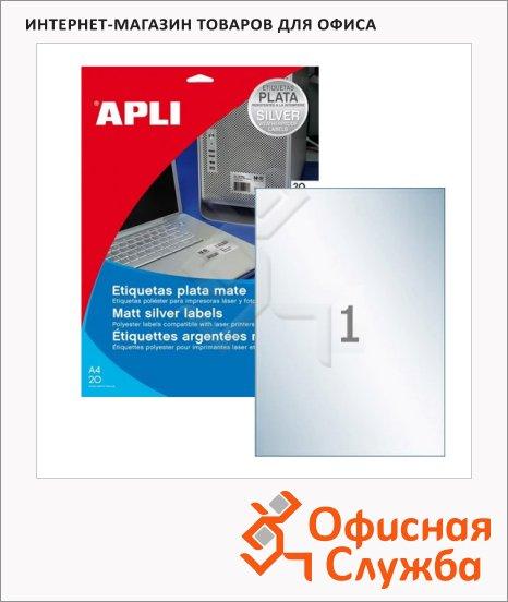 Этикетки всепогодные Apli 10071 210х297мм, 20шт, металлизированные