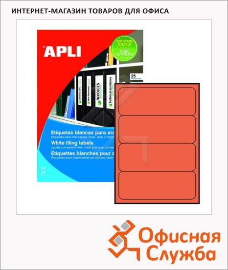 Этикетки для папок Apli 1376, 190х61мм, 80шт, красные