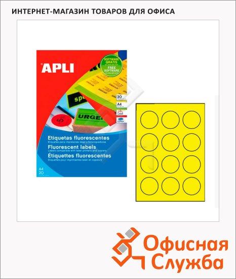 Этикетки цветные флюорисцентные Apli 2866, d=60мм, 240шт, желтые