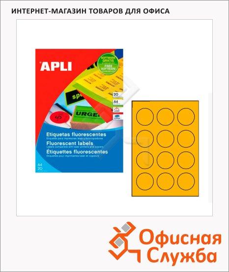 фото: Этикетки цветные флюорисцентные Apli 2867 d=60мм, 240шт, оранжевые