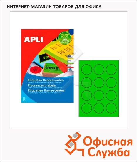 Этикетки цветные флюорисцентные Apli 2869, d=60мм, 240шт, зеленые