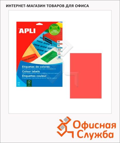 Этикетки цветные Apli 1601, 210х297мм, 20шт, красные