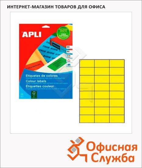фото: Этикетки цветные Apli 1591 70x37мм, 480шт, желтые
