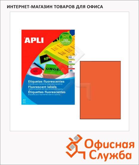 фото: Этикетки цветные Apli 2879 210х297мм, 20шт, оранжевые флюорисцентные