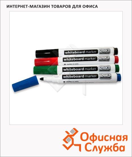 Маркер для досок 2x3 AS104TBP набор 4 цвета, 2-4мм, круглый наконечник