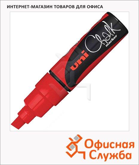 фото: Маркер меловой Uni Chalk PWE-8K красный 8мм, скошенный наконечник, для окон и стекла