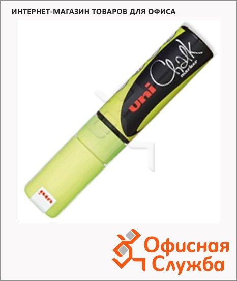 Маркер меловой Uni Chalk PWE-8K флуоресцентный желтый, 8мм, скошенный наконечник, для окон и стекла