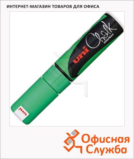 Маркер меловой Uni Chalk PWE-8K флуоресцентный зеленый, 8мм, скошенный наконечник, для окон и стекла