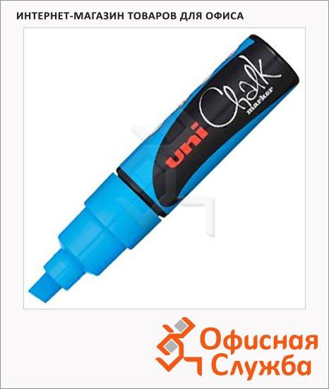 Маркер меловой Uni Chalk PWE-8K голубой, 8мм, скошенный наконечник, для окон и стекла
