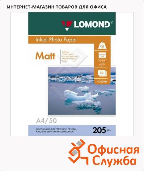 Фотобумага для струйных принтеров Lomond А4, 205 г/м2, 812257