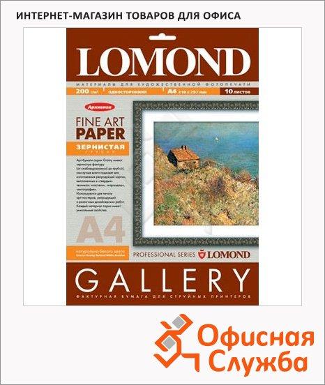 Фотобумага для струйных принтеров Lomond A4, 10 листов, 200г/м2, белая зернистая фактура, 912241