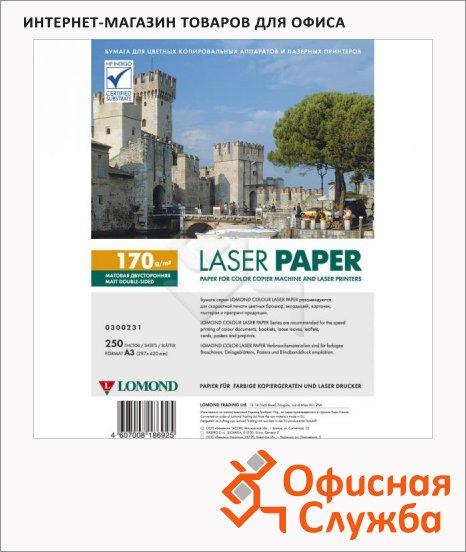 Фотобумага для лазерных принтеров Lomond А3, 250 листов, 170 г/м2, матовая, двусторонняя, 300231