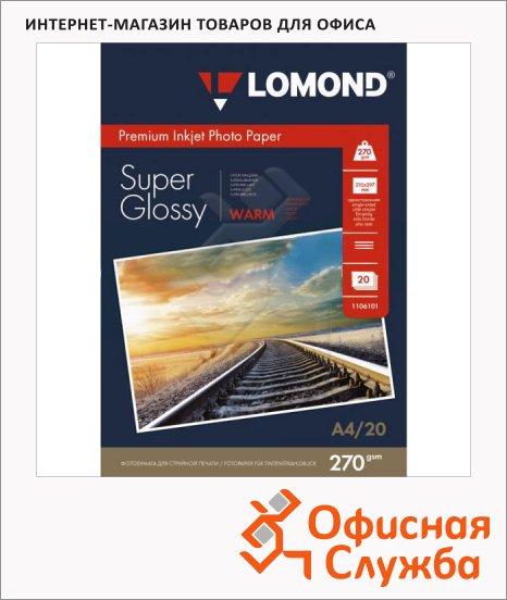 фото: Фотобумага для струйных принтеров Lomond А4 20 листов, 270 г/м2, суперглянцевая, 1106101