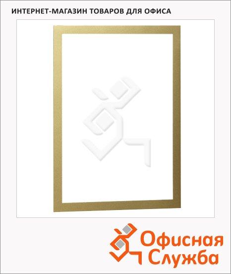 фото: Настенная магнитная рамка Durable Duraframe А4 самоклеящаяся, 2шт, золотистая, 4872-30