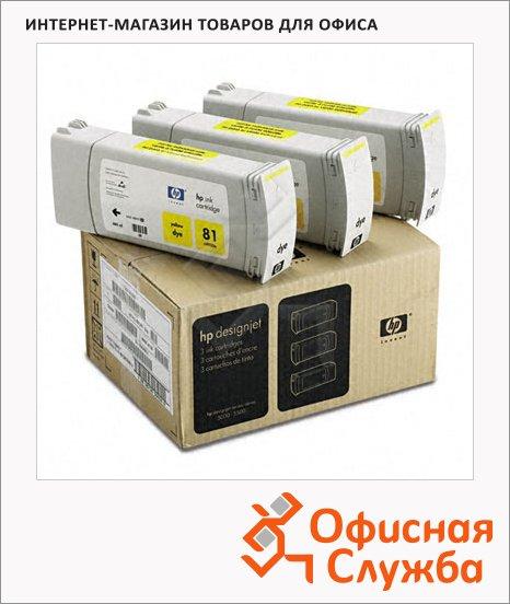Картридж струйный Hp 81 C5069A, 3шт/уп, желтый