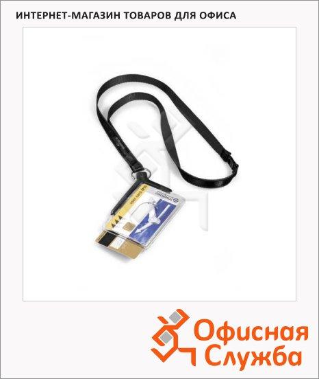 фото: Чехол для пропусков на тесьме Durable Card Holder Pro Duo 54х85 мм темно-серый, 8208-58