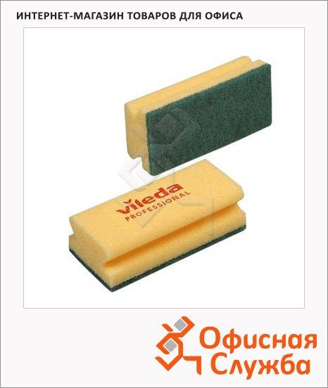 Губка Vileda Pro Виледа 7х15см, желтая, зеленый абразив, 101397