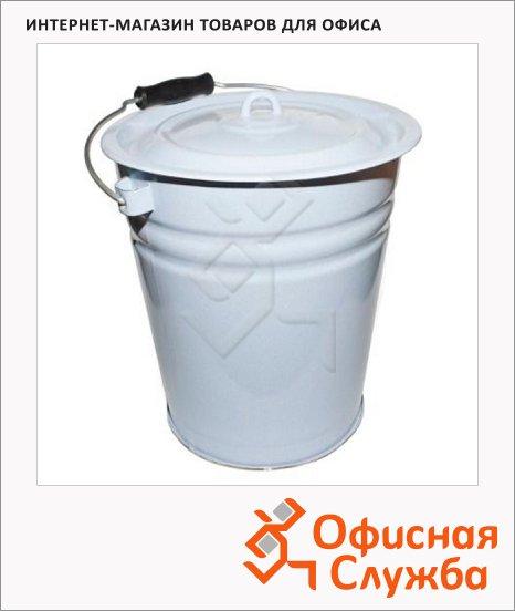 фото: Ведро для уборки с крышкой 12л эмалированное, белое