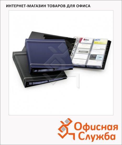 Визитница Durable Visifix на 400 визиток, синяя, 57х90мм, ПВХ, разделитель A-Z, 2388-07