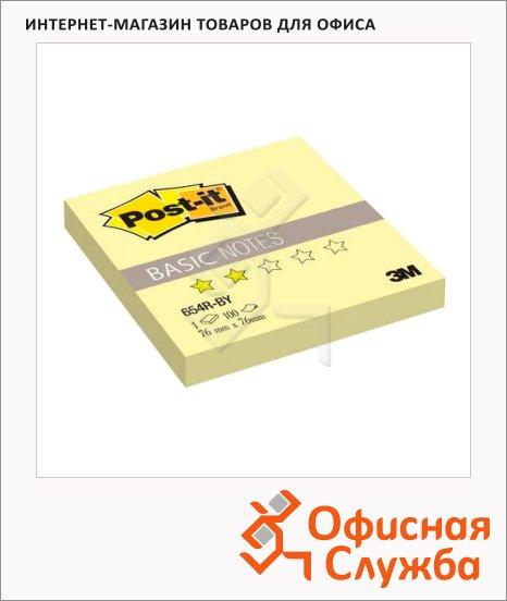 фото: Блок для записей с клейким краем Post-It Basic желтый пастельный, 76x76мм, 100 листов, 654R-BY