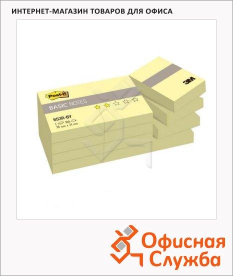 Блок для записей с клейким краем Post-It Basic канареечный желтый, пастельный, 38x51мм, 12х100 листов, 653R-BY